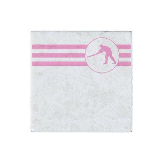 Rayas del jugador del grillo (rosa) imán de piedra