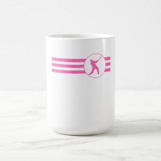 Rayas del jugador del grillo (rosa) taza básica blanca