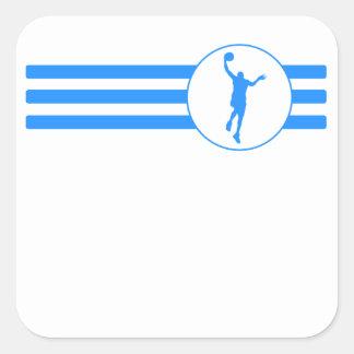 Rayas del Layup del baloncesto (azules) Pegatina Cuadrada