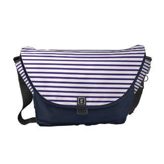 Rayas del marinero - azules marinos y blanco bolsa de mensajeria