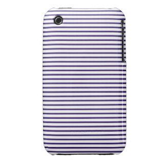 Rayas del marinero - azules marinos y blanco iPhone 3 Case-Mate carcasas