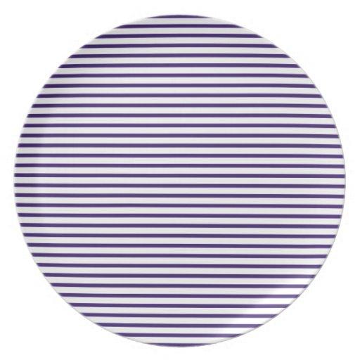 Rayas del marinero - azules marinos y blanco platos de comidas