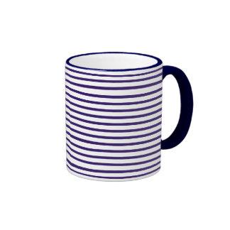 Rayas del marinero - azules marinos y blanco taza de café