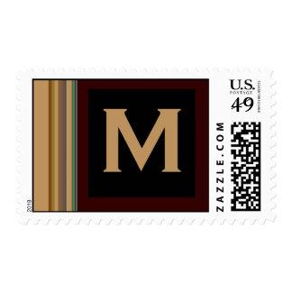 rayas del monograma timbre postal