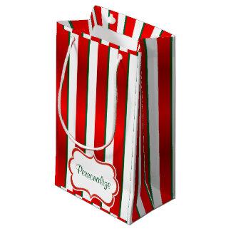Rayas del navidad en blanco, verde y rojo bolsa de regalo pequeña