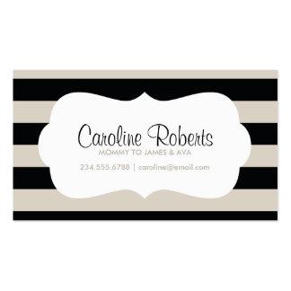 Rayas del negro y de lino y puntos modernos tarjetas de visita