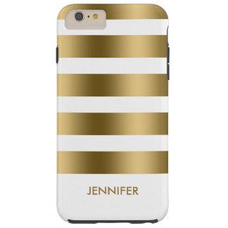 Rayas del oro de Monogramed sobre el fondo blanco Funda De iPhone 6 Plus Tough