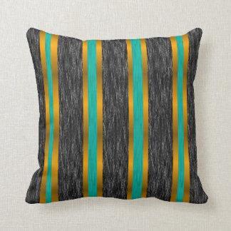 Rayas del oro del trullo en la almohada negra de l