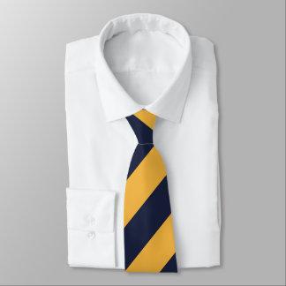 Rayas del oro y de azules marinos corbata personalizada