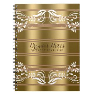 Rayas del oro y del moreno con el cordón floral spiral notebooks
