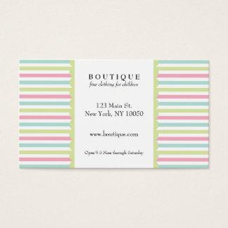 Rayas del pastel del boutique tarjetas de visita