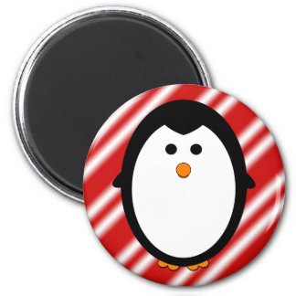 Rayas del pingüino imán redondo 5 cm