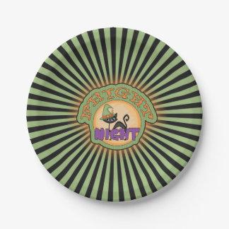 Rayas del radiante del gato de la noche del susto plato de papel de 7 pulgadas