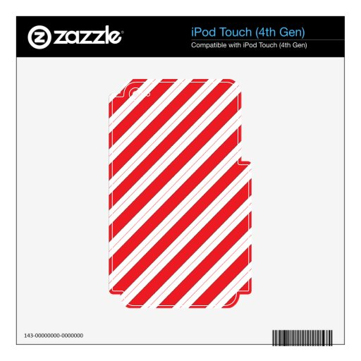 Rayas del rojo del bastón de caramelo calcomanías para iPod touch 4G