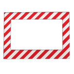 Rayas del rojo del bastón de caramelo marcos magnéticos para fotos