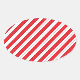 Rayas del rojo del bastón de caramelo pegatina de oval personalizadas