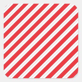 Rayas del rojo del bastón de caramelo pegatina cuadradas personalizadas