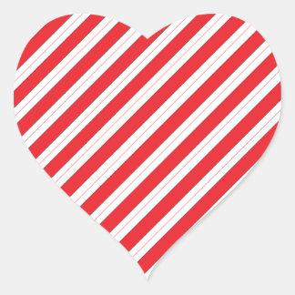Rayas del rojo del bastón de caramelo calcomanías corazones personalizadas