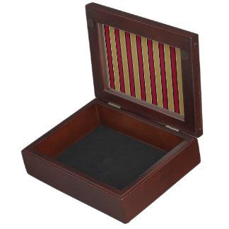 Rayas del rojo del oro y del escarlata cajas de recuerdos