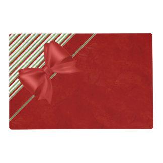 Rayas del rojo rico y del bastón de caramelo tapete individual