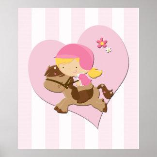 Rayas del rosa de la equitación del amor posters