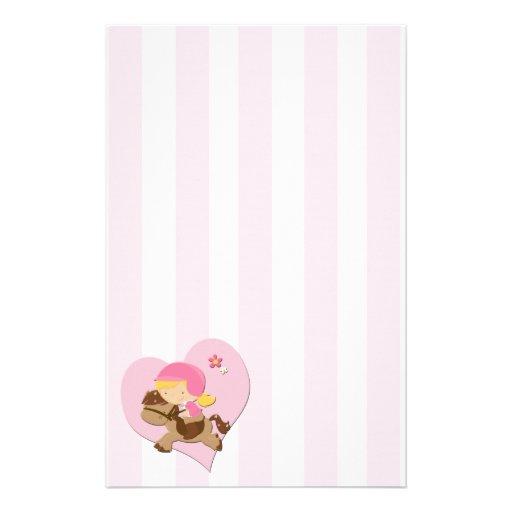 Rayas del rosa de la equitación del amor papelería personalizada