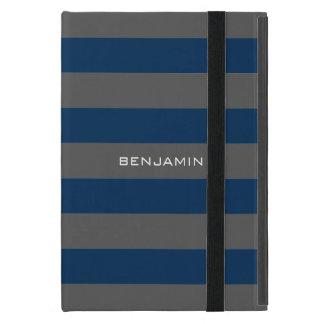 Rayas del rugbi de los azules marinos y del gris c iPad mini funda