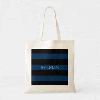 Rayas del rugbi de los azules marinos y del negro bolsa tela barata
