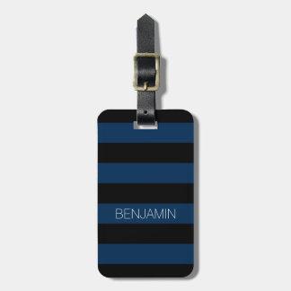 Rayas del rugbi de los azules marinos y del negro etiqueta de equipaje