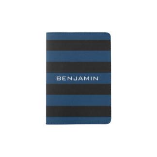 Rayas del rugbi de los azules marinos y del negro porta pasaporte