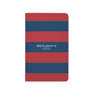 Rayas del rugbi de los azules marinos y del rojo cuadernos grapados