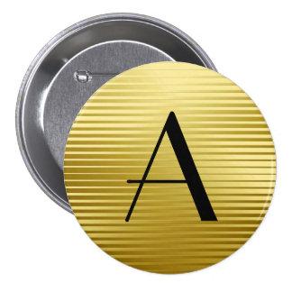 Rayas del satén del oro del art déco del monograma pin redondo de 3 pulgadas