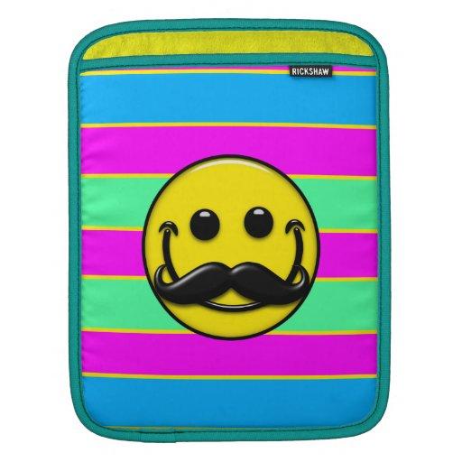 Rayas del smiley del bigote fundas para iPads