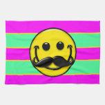 Rayas del smiley del bigote toalla de cocina