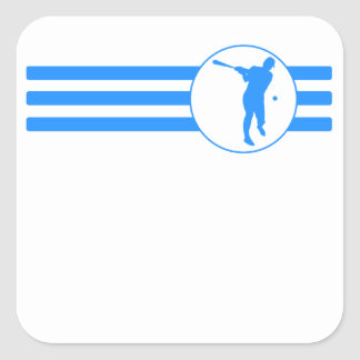 Rayas del talud del béisbol (azules) pegatina cuadrada