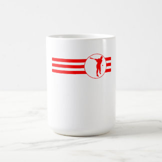 Rayas del talud del béisbol (rojas) taza básica blanca