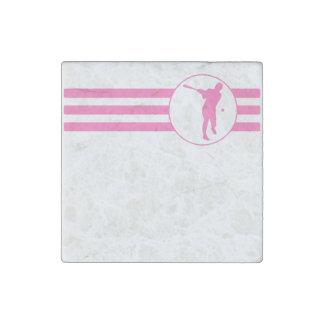 Rayas del talud del béisbol (rosa) imán de piedra