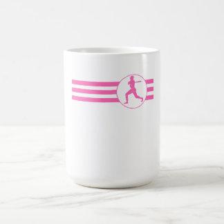 Rayas del talud del béisbol (rosa) taza básica blanca