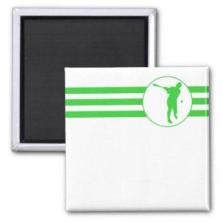 Rayas del talud del béisbol (verde) imán cuadrado