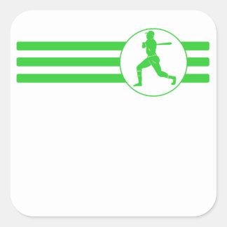 Rayas del talud del béisbol (verde) pegatina cuadrada