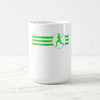 Rayas del talud del béisbol (verde) taza básica blanca