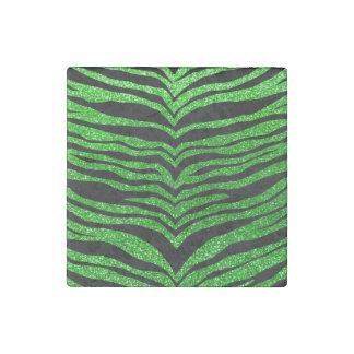 Rayas del tigre del brillo de la verde lima imán de piedra