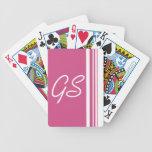 Rayas del trío del rosa del arándano del monograma baraja cartas de poker