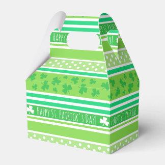 Rayas del verde del día de St Patrick feliz Cajas Para Regalos De Boda