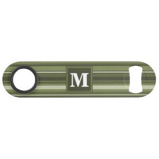 Rayas del verde verde oliva del monograma