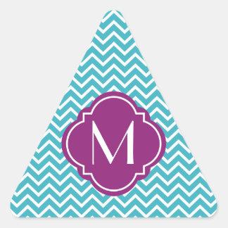 Rayas del zigzag de Chevron con el monograma Pegatina Trianguladas Personalizadas