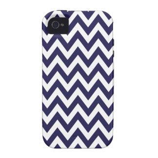 Rayas del zigzag de Chevron de los azules marinos Vibe iPhone 4 Funda