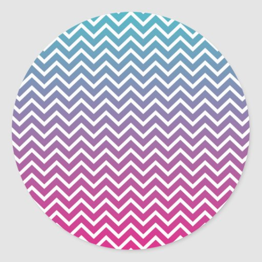 Rayas del zigzag de Ombrè Chevron Etiquetas Redondas