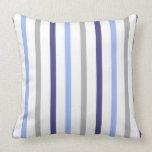 Rayas delgadas gris blanco y azules almohadas