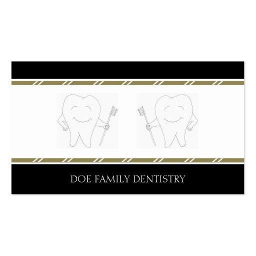 Rayas dentales del oro de la oficina B/W del DDS Tarjetas De Visita